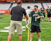 Fayetteville-Manlius Hornets Luke Hamel (1) receives his award after winning the Section III Class A Boys Lacrosse Championship game at the Carrier Dome in Syracuse, New York on Saturday, May 28, 2016.