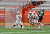 Fayetteville-Manlius Hornets Mac Fish (6) fires in the first goal of the game past Baldwinsville Bees goalie Riley Smith (35) in Section III Boys Lacrosse Championship action at the Carrier Dome in Syracuse, New York on Saturday, May 28, 2016.  Fayetteville-Manlius won 8-7.
