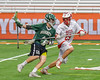 Baldwinsville Bees Kyle Pelcher (29) defending against Fayetteville-Manlius Hornets Donovan Welsh (4) in Section III Boys Lacrosse Championship action at the Carrier Dome in Syracuse, New York on Saturday, May 28, 2016.  Fayetteville-Manlius won 8-7.