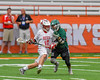 Baldwinsville Bees Dillon Darcangelo (10) being defended by a Fayetteville-Manlius Hornets player in Section III Boys Lacrosse Championship action at the Carrier Dome in Syracuse, New York on Saturday, May 28, 2016.  Fayetteville-Manlius won 8-7.