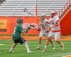 Baldwinsville Bees Kyle Pelcher (29) passes the ball past Fayetteville-Manlius Hornets Mac Fish (6) in Section III Boys Lacrosse Championship action at the Carrier Dome in Syracuse, New York on Saturday, May 28, 2016.  Fayetteville-Manlius won 8-7.