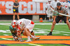 Baldwinsville Bees Ryan ingerson (3) in the opening face-off against Fayetteville-Manlius Hornets Tommy Ryu (22) in Section III Boys Lacrosse Championship action at the Carrier Dome in Syracuse, New York on Saturday, May 28, 2016.  Fayetteville-Manlius won 8-7.