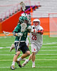 Baldwinsville Bees Connor Smith (26) checks Fayetteville-Manlius Hornets Nick Papa (3) in Section III Boys Lacrosse Championship action at the Carrier Dome in Syracuse, New York on Saturday, May 28, 2016.  Fayetteville-Manlius won 8-7.