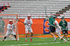 Fayetteville-Manlius Hornets Luke Hamel (1) with a jump shot at the Baldwinsville Bees net in Section III Boys Lacrosse Championship action at the Carrier Dome in Syracuse, New York on Saturday, May 28, 2016.  Fayetteville-Manlius won 8-7.