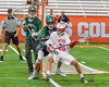 Baldwinsville Bees Ryan Gebhardt (20) backing in on a Fayetteville-Manlius Hornets defender in Section III Boys Lacrosse Championship action at the Carrier Dome in Syracuse, New York on Saturday, May 28, 2016.  Fayetteville-Manlius won 8-7.