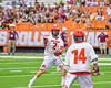Jamesville-Dewitt Red Rams Rosario Digristina (2) passing the ball against the Auburn Maroons in Section III Boys Class B Lacrosse Championship action at the Carrier Dome in Syracuse, New York on Saturday, May 28, 2016.  Jamesville-Dewitt won 15-7.