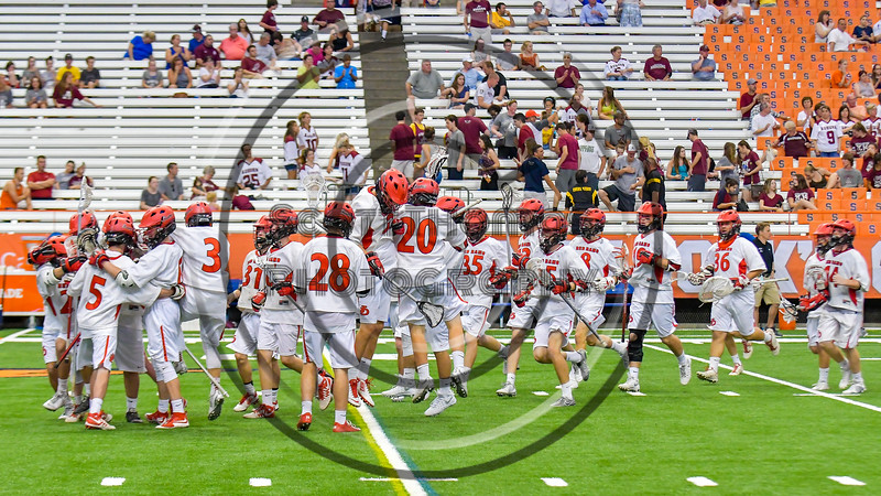 Jamesville-Dewitt Red Rams celebrate their win over the Auburn Maroons in the Section III Boys Class B Lacrosse Championship game at the Carrier Dome in Syracuse, New York on Saturday, May 28, 2016.  Jamesville-Dewitt won 15-7.
