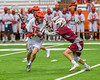 Jamesville-Dewitt Red Rams with the ball against the Auburn Maroons in Section III Boys Class B Lacrosse Championship action at the Carrier Dome in Syracuse, New York on Saturday, May 28, 2016.  Jamesville-Dewitt won 15-7.