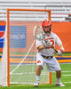 Jamesville-Dewitt Red Rams goalie Dylan Fleischman (22) makes a save against the Auburn Maroons in Section III Boys Class B Lacrosse Championship action at the Carrier Dome in Syracuse, New York on Saturday, May 28, 2016.  Jamesville-Dewitt won 15-7.