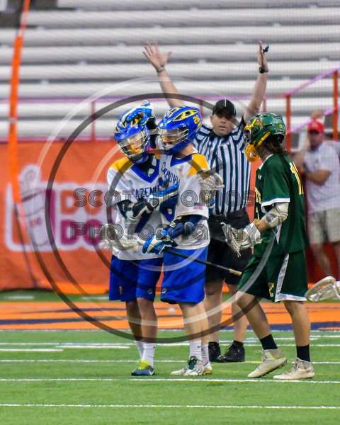Cazenovia Lakers Jake Lewis (26) celebrates his goal against the LaFayette Lancers in Section III Boys Class C Lacrosse Championship action at the Carrier Dome in Syracuse, New York on Saturday, May 28, 2016.  Cazenovia won 11-9.