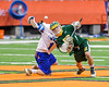 LaFayette Lancers Josh Palin (6) wins a face-off against Cazenovia Lakers Brice Basic (1) in Section III Boys Class C Lacrosse Championship action at the Carrier Dome in Syracuse, New York on Saturday, May 28, 2016.  Cazenovia won 11-9.