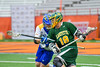LaFayette Lancers Percy Booth (18) with the ball against a Cazenovia Lakers defender in Section III Boys Class C Lacrosse Championship action at the Carrier Dome in Syracuse, New York on Saturday, May 28, 2016.  Cazenovia won 11-9.