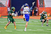 Cazenovia Lakers goalie Brendan Whalen (21) fires the ball at the LaFayette Lancers net for a goal in Section III Boys Class C Lacrosse Championship action at the Carrier Dome in Syracuse, New York on Saturday, May 28, 2016.  Cazenovia won 11-9.