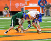 Cazenovia Lakers Brice Basic (1) facing off against LaFayette Lancers Josh Palin (6) in Section III Boys Class C Lacrosse Championship action at the Carrier Dome in Syracuse, New York on Saturday, May 28, 2016.  Cazenovia won 11-9.