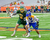 LaFayette Lancers Percy Booth (18) battles for a gound ball with Cazenovia Lakers Dylan Hahn (6) in Section III Boys Class C Lacrosse Championship action at the Carrier Dome in Syracuse, New York on Saturday, May 28, 2016.  Cazenovia won 11-9.
