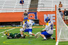 LaFayette Lancers Jordyn Marchiano (8) gets a shoot at Cazenovia Lakers goalie Brendan Whalen (21) in Section III Boys Class C Lacrosse Championship action at the Carrier Dome in Syracuse, New York on Saturday, May 28, 2016.  Cazenovia won 11-9.