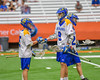Cazenovia Lakers Thomas Bragg (9) gets congratulated for his goal against the LaFayette Lancers in Section III Boys Class C Lacrosse Championship action at the Carrier Dome in Syracuse, New York on Saturday, May 28, 2016.  Cazenovia won 11-9.