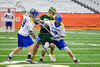LaFayette Lancers Jordyn Marchiano (8) battles with Cazenovia Lakers players for the ball in Section III Boys Class C Lacrosse Championship action at the Carrier Dome in Syracuse, New York on Saturday, May 28, 2016.  Cazenovia won 11-9.