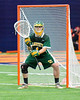 LaFayette Lancers goalie Nate Nicholas (1) in net against the Cazenovia Lakers in Section III Boys Class C Lacrosse Championship action at the Carrier Dome in Syracuse, New York on Saturday, May 28, 2016.  Cazenovia won 11-9.