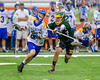 LaFayette Lancers Emerson Shenandoah (4) defending against Cazenovia Lakers Cole Willard (24) in Section III Boys Class C Lacrosse Championship action at the Carrier Dome in Syracuse, New York on Saturday, May 28, 2016.  Cazenovia won 11-9.