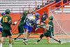 Cazenovia Lakers Jake Lewis (26) shoots and scores against the LaFayette Lancers in Section III Boys Class C Lacrosse Championship action at the Carrier Dome in Syracuse, New York on Saturday, May 28, 2016.  Cazenovia won 11-9.