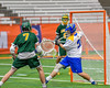 LaFayette Lancers Ryan Agedal (7) shoots and scores on Cazenovia Lakers goalie Brendan Whalen (21) in Section III Boys Class C Lacrosse Championship action at the Carrier Dome in Syracuse, New York on Saturday, May 28, 2016.  Cazenovia won 11-9.