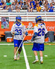 Cazenovia Lakers TJ Connellan (23) receives congratulations after scoring a goal against the LaFayette Lancers in Section III Boys Class C Lacrosse Championship action at the Carrier Dome in Syracuse, New York on Saturday, May 28, 2016.  Cazenovia won 11-9.