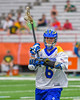 Cazenovia Lakers Dylan Hahn (6) looking to make a play against LaFayette Lancers in Section III Boys Class C Lacrosse Championship action at the Carrier Dome in Syracuse, New York on Saturday, May 28, 2016.  Cazenovia won 11-9.