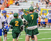 LaFayette Lancers Roman Reiss (19) gets congratulated for his goal agianst the Cazenovia Lakers net in Section III Boys Class C Lacrosse Championship action at the Carrier Dome in Syracuse, New York on Saturday, May 28, 2016.  Cazenovia won 11-9.