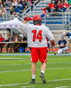 Jamesville-Dewitt Red Rams Grayson Burns (14) celebrates his goal against the Webster Thomas Titans in NYSPHSAA Boys Class B Lacrosse Semifinals action at Bragman Stadium in Cicero, New York on Wednesday, June 8, 2016.  Jamesville-Dewitt won 13-9.