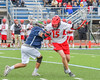 Jamesville-Dewitt Red Rams Andrew Barclay (15) being defended by a Webster Thomas Titans defender in NYSPHSAA Boys Class B Lacrosse Semifinals action at Bragman Stadium in Cicero, New York on Wednesday, June 8, 2016.  Jamesville-Dewitt won 13-9.