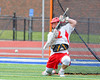 Jamesville-Dewitt Red Rams goalie Dylan Fleischman (22) makes a save against the Webster Thomas Titans in NYSPHSAA Boys Class B Lacrosse Semifinals action at Bragman Stadium in Cicero, New York on Wednesday, June 8, 2016.  Jamesville-Dewitt won 13-9.