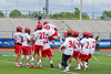 Jamesville-Dewitt Red Rams players celebrate their won over the Webster Thomas Titans in the NYSPHSAA Boys Class B Lacrosse Semifinals game at Bragman Stadium in Cicero, New York on Wednesday, June 8, 2016.  Jamesville-Dewitt won 13-9.