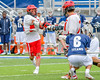 Jamesville-Dewitt Red Rams goalie Dylan Fleischman (22) shoots the ball against the Webster Thomas Titans in NYSPHSAA Boys Class B Lacrosse Semifinals action at Bragman Stadium in Cicero, New York on Wednesday, June 8, 2016.  Jamesville-Dewitt won 13-9.