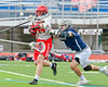 Jamesville-Dewitt Red Rams Grayson Burns (14) shoots and scores against the Webster Thomas Titans in NYSPHSAA Boys Class B Lacrosse Semifinals action at Bragman Stadium in Cicero, New York on Wednesday, June 8, 2016.  Jamesville-Dewitt won 13-9.