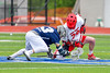 Jamesville-Dewitt Red Rams Jack Mulvihill (29) facing off against Webster Thomas Titans Joe Luconte (13) in NYSPHSAA Boys Class B Lacrosse Semifinals action at Bragman Stadium in Cicero, New York on Wednesday, June 8, 2016.  Jamesville-Dewitt won 13-9.