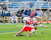 Jamesville-Dewitt Red Rams Griffin Cook (31) with the ball against the Webster Thomas Titans in NYSPHSAA Boys Class B Lacrosse Semifinals action at Bragman Stadium in Cicero, New York on Wednesday, June 8, 2016.  Jamesville-Dewitt won 13-9.