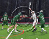 Baldwinsville Bees Cole Peters (11) avoiding Marcellus Mustangs defenders in Section III Boys Lacrosse action at the Pelcher-Arcaro Stadium in Baldwinsville, New York on Tuesday, March 28, 2017.  Baldwinsville won 11-5.