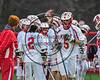 Baldwinsville Bees Ben Dwyer (5) being introduced before playing the Marcellus Mustangs in Section III Boys Lacrosse game at the Pelcher-Arcaro Stadium in Baldwinsville, New York on Tuesday, March 28, 2017.