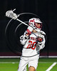 Baldwinsville Bees Ryan Gebhardt (20) with the ball against the Cicero-North Syracuse Northstars in Section III Boys Lacrosse action at the Pelcher-Arcaro Stadium in Baldwinsville, New York on Thursday, April 27, 2017.  Baldwinsville won 15-8.