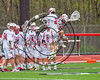 Baldwinsville Bees Tanner McCaffery (2) and goalie Frank Delia (16) before playing the Cicero-North Syracuse Northstars in a Section III Boys Lacrosse game at the Pelcher-Arcaro Stadium in Baldwinsville, New York on Thursday, April 27, 2017.