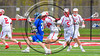 Baldwinsville Bees Kyle Pelcher (29) keeping pace with the Cicero-North Syracuse Northstars player in Section III Boys Lacrosse action at the Pelcher-Arcaro Stadium in Baldwinsville, New York on Thursday, April 27, 2017.  Baldwinsville won 15-8.
