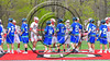 Baldwinsville Bees and Cicero-North Syracuse Northstars starting lineups shake hands before a Section III Boys Lacrosse game at the Pelcher-Arcaro Stadium in Baldwinsville, New York on Thursday, April 27, 2017.