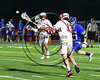 Baldwinsville Bees Peter Fiorni III (13) shoots and scores against the Cicero-North Syracuse Northstars in Section III Boys Lacrosse action at the Pelcher-Arcaro Stadium in Baldwinsville, New York on Thursday, April 27, 2017.  Baldwinsville won 15-8.