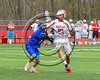 Baldwinsville Bees Peter Fiorni III (13) being checked by a Cicero-North Syracuse Northstars defender in Section III Boys Lacrosse action at the Pelcher-Arcaro Stadium in Baldwinsville, New York on Thursday, April 27, 2017.  Baldwinsville won 15-8.