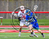 Baldwinsville Bees Brandon Mimas (21) checking Cicero-North Syracuse Northstars Brody Guido (10) in Section III Boys Lacrosse action at the Pelcher-Arcaro Stadium in Baldwinsville, New York on Thursday, April 27, 2017.  Baldwinsville won 15-8.