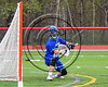 Cicero-North Syracuse Northstars goalie Brian Jobin (22) makes a save against the Baldwinsville Bees in Section III Boys Lacrosse action at the Pelcher-Arcaro Stadium in Baldwinsville, New York on Thursday, April 27, 2017.  Baldwinsville won 15-8.