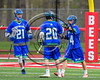 Cicero-North Syracuse Northstars Joel Firth (14) celebrates his goal against the Baldwinsville Bees in Section III Boys Lacrosse action at the Pelcher-Arcaro Stadium in Baldwinsville, New York on Thursday, April 27, 2017.  Baldwinsville won 15-8.