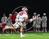 Baldwinsville Bees Cameron Slink (25) with the ball against the Cicero-North Syracuse Northstars in Section III Boys Lacrosse action at the Pelcher-Arcaro Stadium in Baldwinsville, New York on Thursday, April 27, 2017.  Baldwinsville won 15-8.