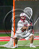 Baldwinsville Bees goalie Justin Johnson (24) in net against the Cicero-North Syracuse Northstars in Section III Boys Lacrosse action at the Pelcher-Arcaro Stadium in Baldwinsville, New York on Thursday, April 27, 2017.  Baldwinsville won 15-8.